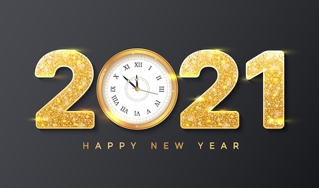 Happy new year merry christmas with realistic golden numbers and wall clock
