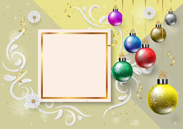 Happy new year and merry chritmas. color christmas balla. layout for invitation.