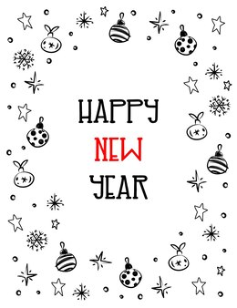 Happy new year  minimalistic greeting card drawing in sketch style doodle