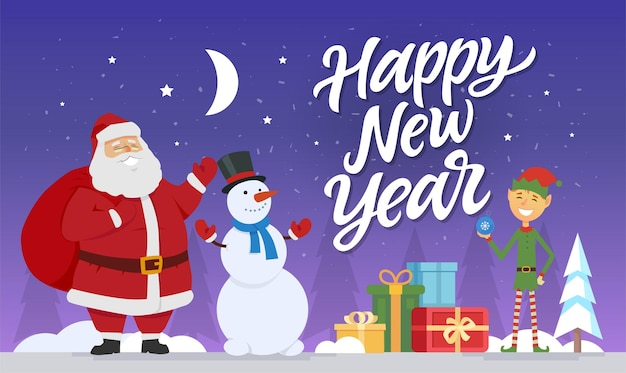 Happy new year - modern cartoon characters illustration with hand drawn brush pen lettering. santa claus with snowman and elf standing with presents in a night winter forest. stars and moon in the sky