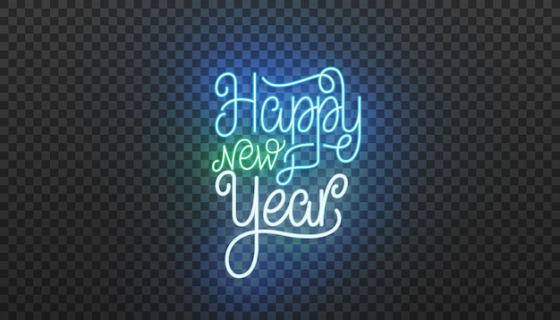 Happy new year neon lettering. bright neon vector illustration for new year 2021 celebration.
