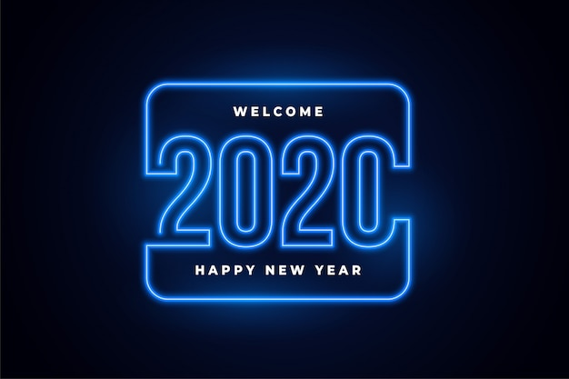 Happy new year neon lights glowing background