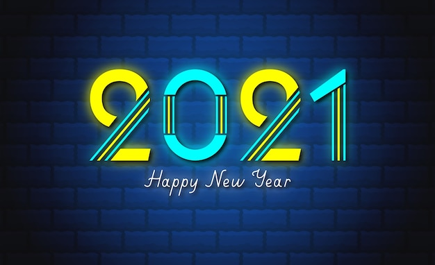 Happy new year neon sign style text with 2021 wallpaper.