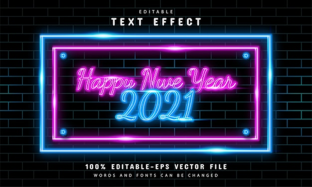 Happy new year neon sign with editable text effects
