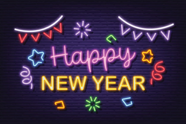 Happy new year neon signboard banner