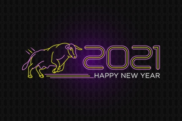 Happy new year  neon text banner