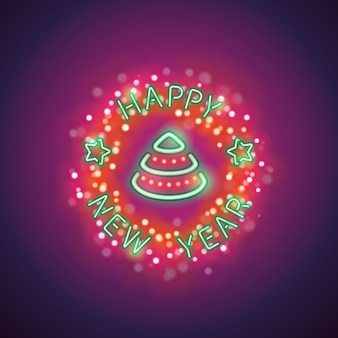 Happy new year neon with magic