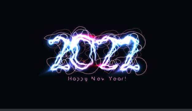 Happy new year numbers realistic blue lightning on black background for brochure greeting card or