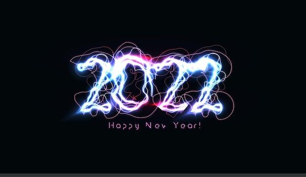 새해 복 많이 받으세요 번호 안내 책자 인사말 카드 또는 검은 배경에 현실적인 푸른 번개