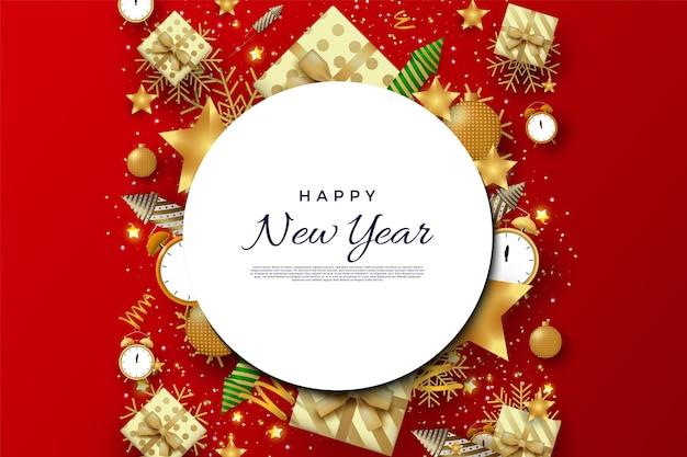 小さな影と白い円の背景に新年あけましておめでとうございます