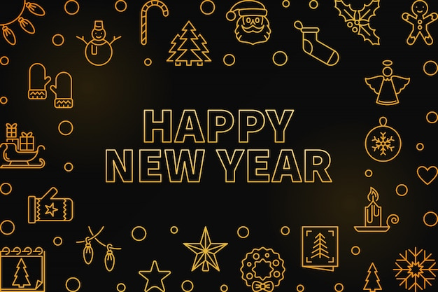 Happy new year outline golden horizontal frame