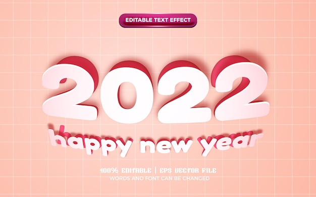 Happy new year paper cut origami 3d editable text effect