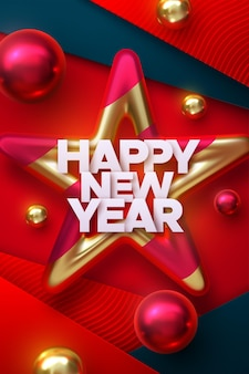 Happy new year paper holiday sign with red and golden bauble star and christmas balls