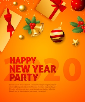 Happy new year party 2020 festive poster