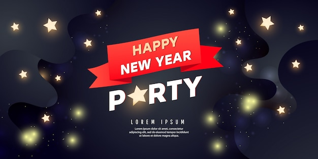 Happy new year party banner. holiday background with stars and golden confetti
