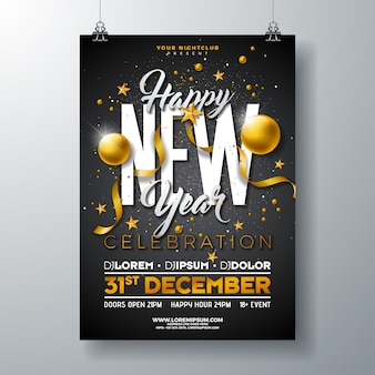 Happy new year party celebration poster template
