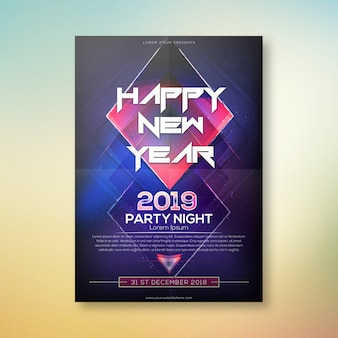 Happy new year party night poster