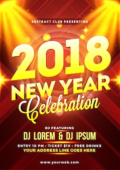 Happy new year party poster, banner or flyer design.