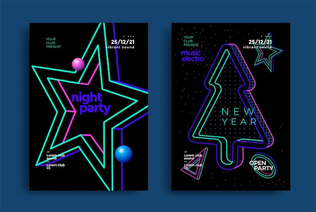 Happy new year party poster design with neon color christmas tree and star