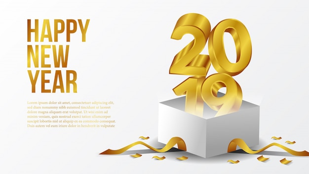 Happy new year party with 3d gold with open box