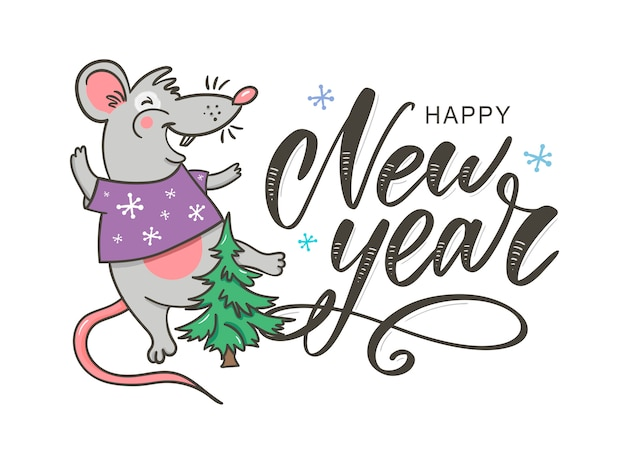 Happy new year party with rat greeting card