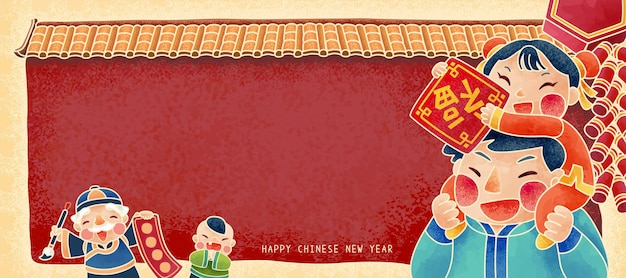 Happy new year people holding doufang and spring scroll in front of red wall