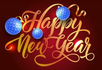 Happy New Year postcard design. Blue baubles