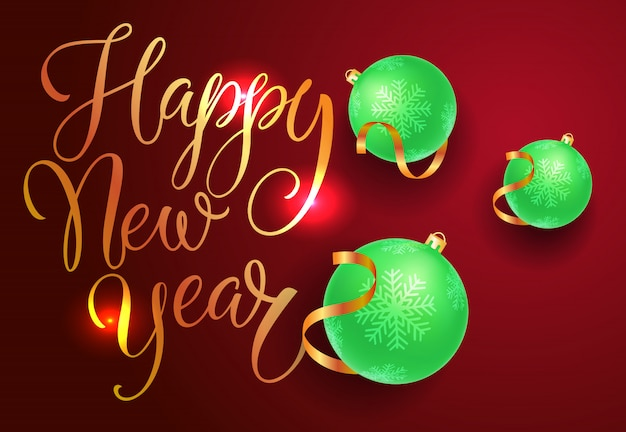 Happy new year postcard design. green baubles