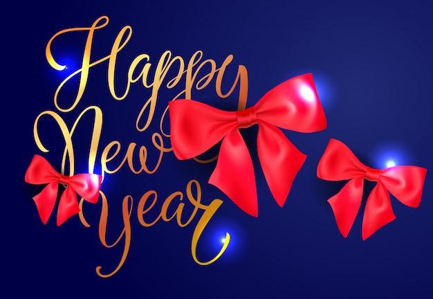 Disegno della cartolina di felice anno nuovo. fiocchi rossi