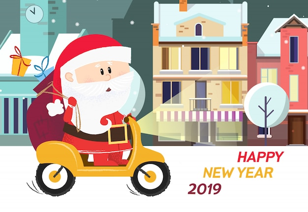 Happy new year poster. cute santa claus with gifts