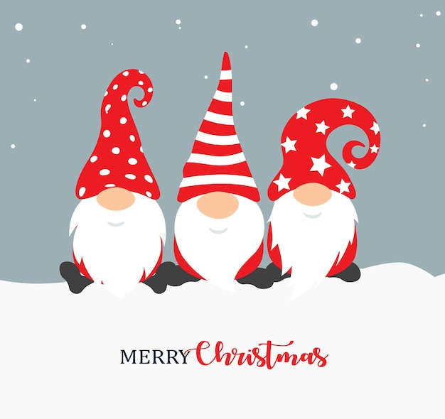 Happy new year poster design with gnomes christmass characters for decoration of xmas holidays new
