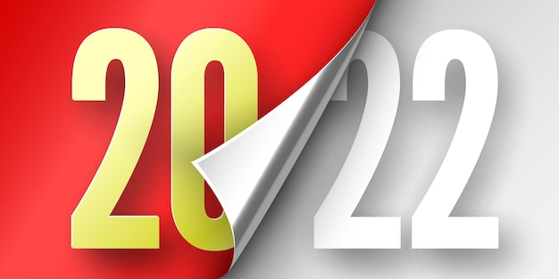 Happy new year poster. red ribbon with curved edge on white . sticker.