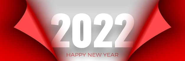 Happy new year poster. red ribbon with curved edges on white . sticker.
