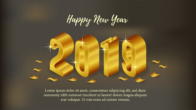 Happy new year poster with 3d gold isometric