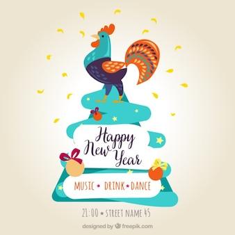 カラフルなオンドリと幸せな新年のポスター