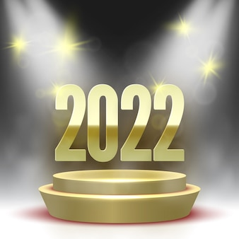 Happy new year poster with round podium and spotlights. golden pedestal.