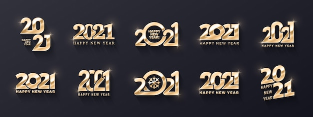 Happy new year premium golden logo different variations d text templates collection