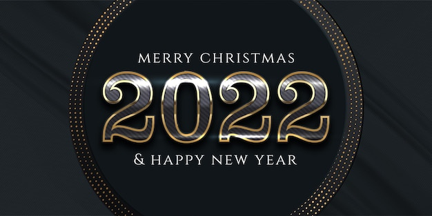 Happy new year realistic banner editable text number luxury design