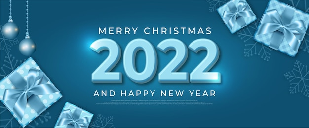 Happy new year realistic banner with christmas element decoration