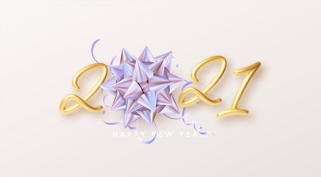 Happy new year realistic gold lettering with gift golden holographic rainbow bow and golden tinsel on a white background.