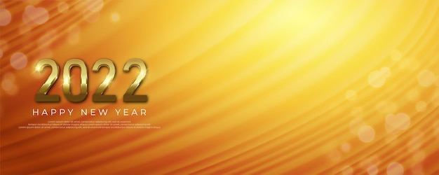 Happy new year realistic golden banner with text space