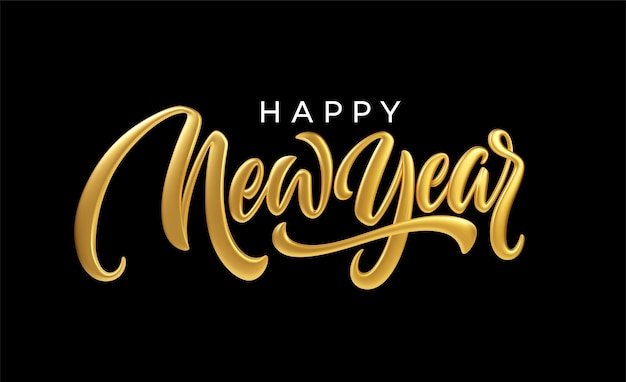 Happy new year. realistic golden metal lettering isolated on black background.