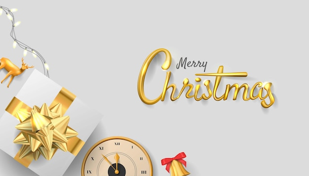 Happy new year realistic golden number with giftbox background