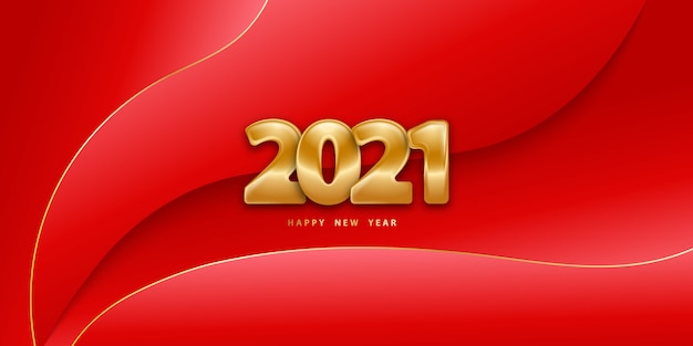 Happy new year red background and golden numbers