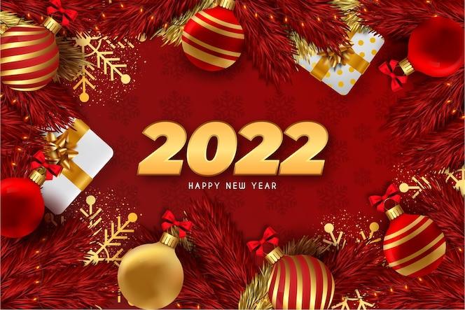 Felice anno nuovo sfondo rosso con decorazioni natalizie realistiche