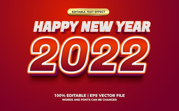 Happy new year red bold 3d editable text effect template