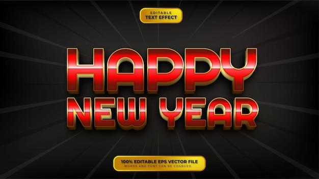 С новым годом красное золото 3d редактируемый текстовый эффект
