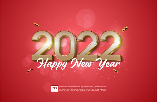 Happy new year red and gold greeting card