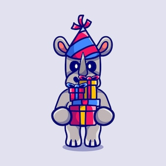 С новым годом носорог приносит кучу подарков