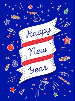 Happy new year. ribbon banner in bright colorful style with text happy new year and graphic symbols.